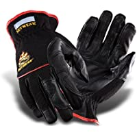 SetWear Hot Hand, Heat Resistant Leather Gloves, Pair X-Small (Size 7) Approximatly 2.5-3/ 6.35-7.62cm, Black/Black by SetWear