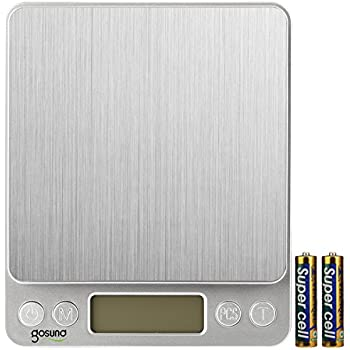 Gosund Portable Digital Kitchen Scale for Jewelry Backlit Display Refined Accuracy 0.1g/0.005oz Maximum Weight 3000g/105.82oz Stainless Steel (Silver)