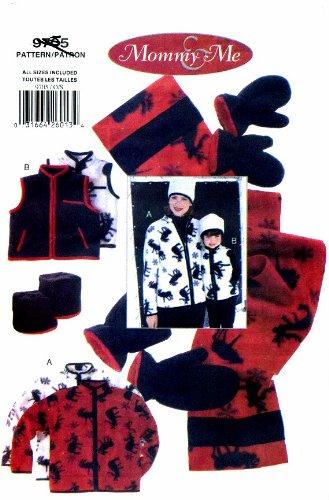 (Vogue 9705 Misses Childrens Fleece Jacket Vest Hat Mittens Scarf Sewing Pattern Size 6 - 18 Childs Size 2 - 6X)