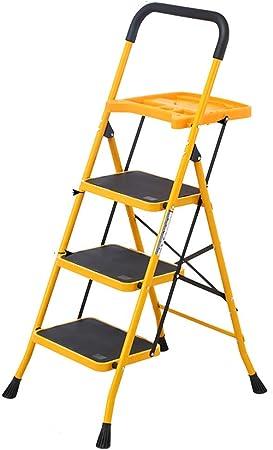 YXZQ Escalera con Bandeja de Pintura y manija, Estante de Escalera Plegable de Metal para Interiores y Exteriores (tamaño: 3 escalones): Amazon.es: Hogar