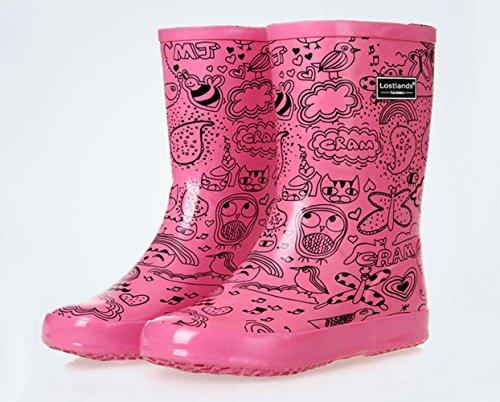 Boots Women for Insun Rain Calf Rose Print Women's Print Mid wnqqFXP0