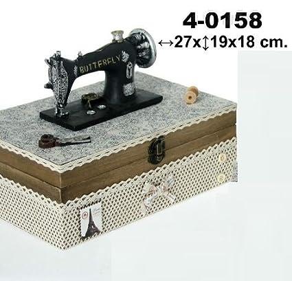 DonRegaloWeb DRW - Costurero de Madera con Forma Decorado con máquina de Coser Antigua 27x18x19cm