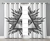 Stylish Window Curtains,Eye,Triangle Shape with Wavy Figures and All Seeing Eye Tattoo Style Spiritual Masonic Decorative,Black and White,2 Panel Set Window Drapes,for Living Room Bedroom Kitchen Cafe