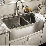 Starstar 35 X 20 Inch Undermount Farmhouse Apron 60/40 Double Bowl 16 Gauge Stainless Steel Kitchen Sink