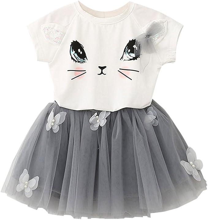 ESHOO Las niñas Falda Conjunto, bebé Verano Chicas Gato Camiseta ...