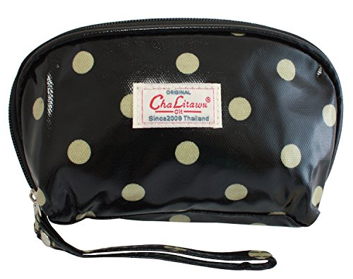 BDJ Polka-dots Oilcloth Cosmetic Purse Wallet Wristlet Clutch Handbag (Black-beige) (Doll Eyes Makeup Tutorial Halloween)