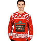 Loftus DU-0001XXL Morph Digitaldudz Crackling Fireplace Red Christmas Jumper App Connected Knit Sweater