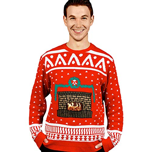 Morph DigitalDudz Crackling Fireplace Red Christmas Jumper App Connected Knit Sweater