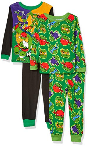 Nickelodeon Boys' Big Teenage Mutant Ninja Turtles 4-Piece Cotton Pajama Set, TMNT Power, 8 (Ninja Turtles Clothing Size 8)