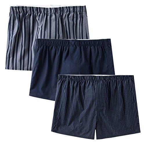 CYZ Men's 100% Cotton Classic Woven Boxers 3 Packs-StripeTideBluePlaid-M