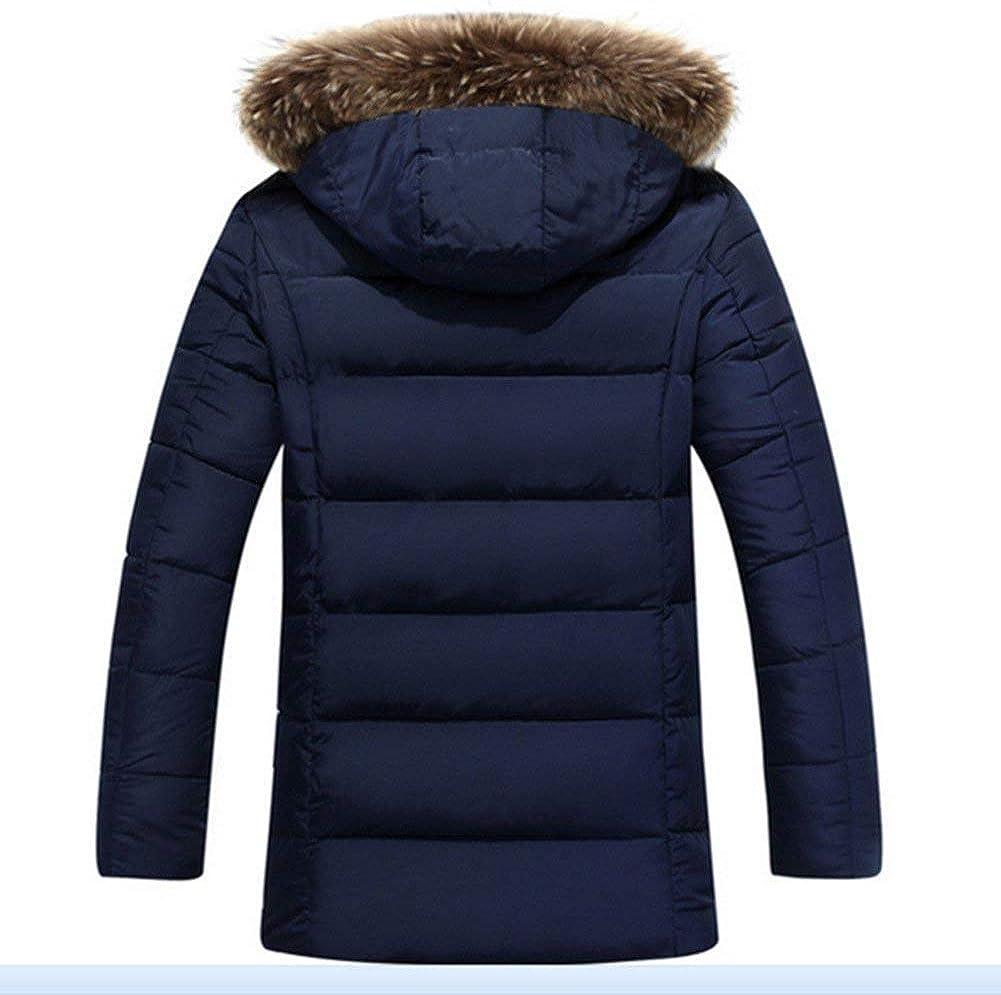 Manteau d'hiver en Coton À Manches Longues pour À Manteau Hommes Capuche Mode Chic en Fourrure À Capuche Manteau Matelassé D'Extérieur À Capuche Dunkelblau