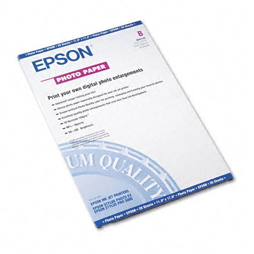 Epson Photo Inkjet Paper, Glossy, 11 x 17, 20 Sheets/Pack