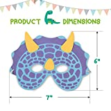 Dinosaur Birthday Party Supplies: 24 Dinosaur Party Masks - Masquerade and Halloween Dinosaur Face Mask - Foam Dinosaur Mask for Kids Themed Party Favors Decorations and Hats - M & M Products Online