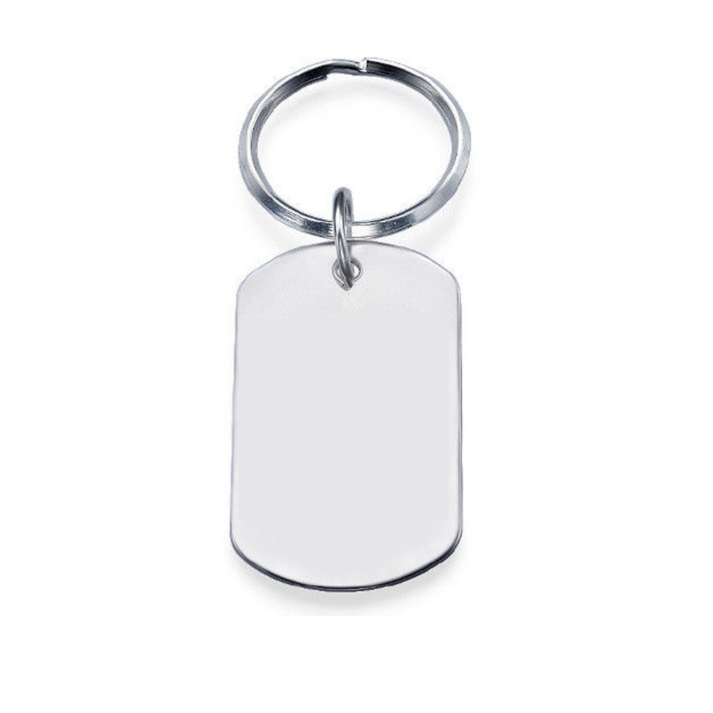 Ouslier 925 Sterling Silver Personalized Dog Tag Keychain Custom Made with 5 Lines Texts (Silver) by Ouslier