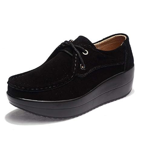Fuxitoggo Zapatos con Suela de Rocker Mocasines con Cordones de Cuero de la Plataforma de Mujer