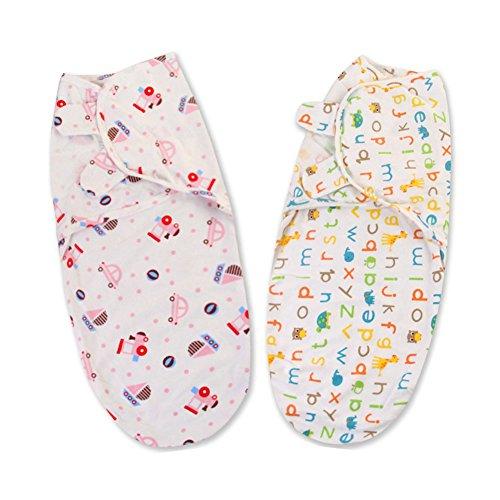 Swaddle Clothes, Adjustable Newborn Baby Wrap Set, 2 Pack Soft Cotton Sleepsack, Swaddling Blanket - Microfleece Adjustable Infant Wrap