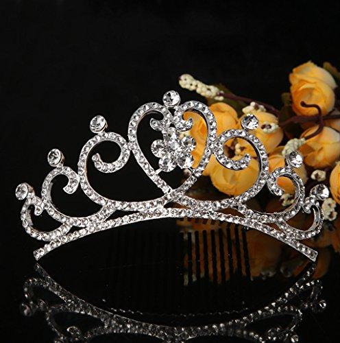 Dairyshop Tiara nuziale strass capelli Fiore clip Comb Accessori Corona Wedding Diamante Corona