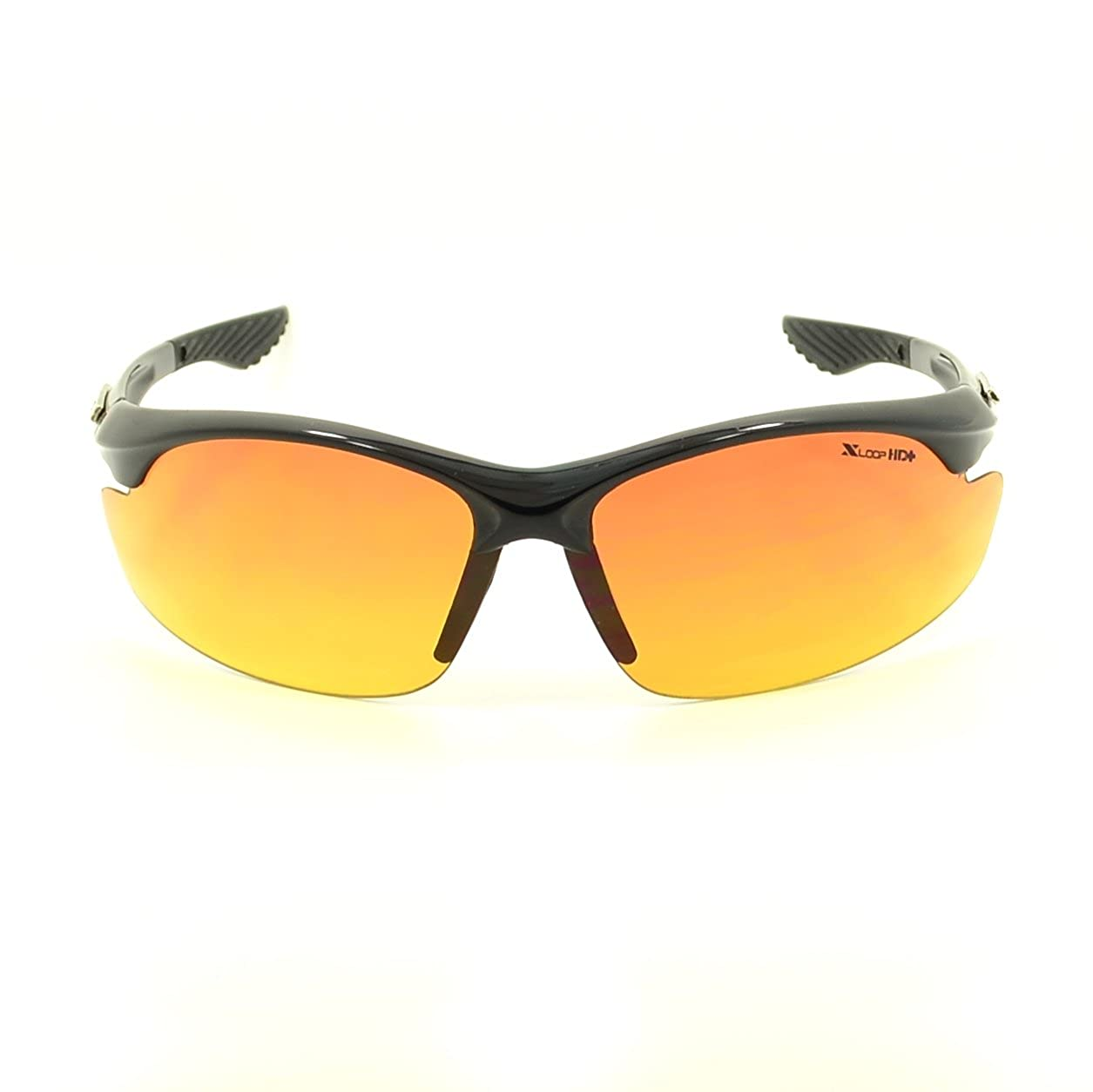 Xloop Mens Sports Hd Black Frame Sunglasses 69.85 MM Width Lens
