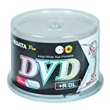 Ritek Ridata DRD+858-RDIWN-CB50 DVD+R Dual Layer (DL) 8X White Inkjet Hub Printable Double Layer Blank DVD Plus R Media Discs 50 Pack Cake Box