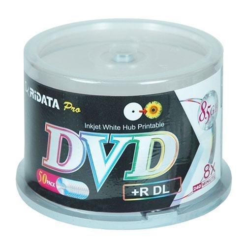 Ritek Ridata DRD+858-RDIWN-CB50 DVD+R Dual Layer (DL) 8X White Inkjet Hub Printable Double Layer Blank DVD Plus R Media Discs 50 Pack Cake Box by Ritek