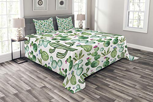 Furniture Bedroom Mexican (Ambesonne Green Bedspread Set Queen Size, Mexican Texas Cactus Plants Spikes Cartoon Like Artistic Print, Decorative Quilted 3 Piece Coverlet Set with 2 Pillow Shams, White Pale Pink and Lime Green)