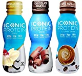 Iconic Grass-Fed Protein Drink 3 Flavor Sampler Bundle, (1) Each: Vanilla Bean, Chocolate Truffle, Cafe Au Lait, 11.5 fl oz