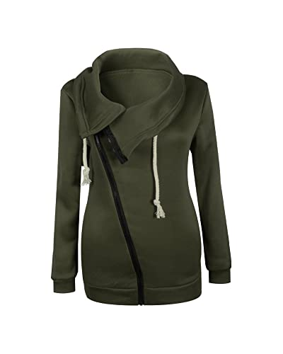 Mujeres Abrigo de Manga Larga con Capucha Coat Jacket Chaqueta Verde S