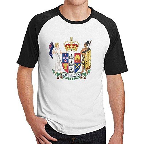HFIUH5 Coat of Arms of New Zealand Mens Printed T-Shirt Short Sleeves Crewneck Sports Cotton ()