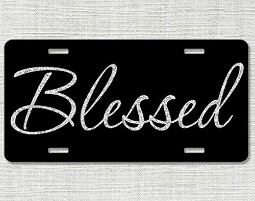 Blessed Car Tag Glitter Like Front License Plate Christian Religious License Plate Fram Vanity Tag Car License Plate Art Plate