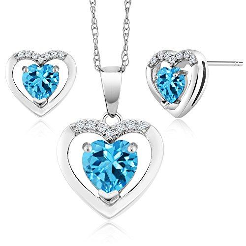 10K White Gold 1.76 Ct Heart Swiss Blue Topaz and Diamond Pendant Earrings Set by Gem Stone King