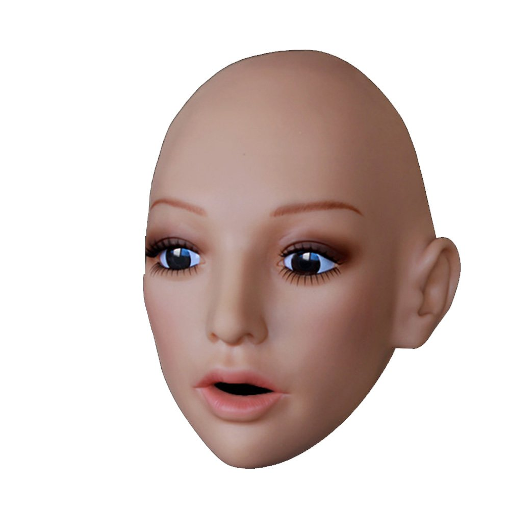 Soft Realistic Female Mask with Skin Texture Mouth Open Facial Movement SH16