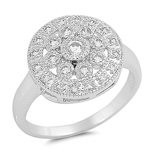 White CZ Round Flower Cluster Ring New .925 Sterling Silver Band Size 8