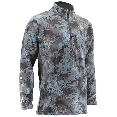 Huk Men's Tidewater Camo Subphantis 1/4 Zip Fleece Long Sleeve Shirt, Subphantis Glacier, Medium