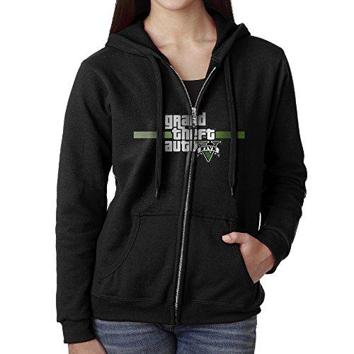 KJhsfub Casual Womens Grand Theft Auto GTA 5 Logo Full-Zip Sweatshirt Hoodie Jacket Small