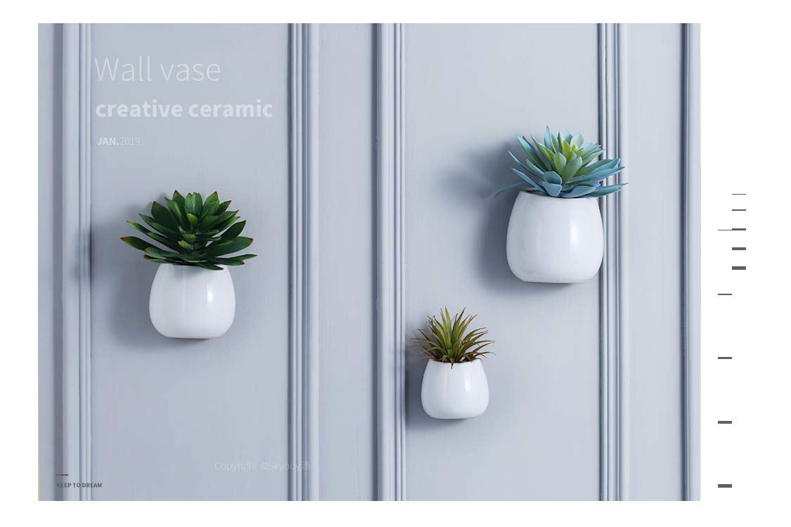 Amazon.com 3 PCS Wall Mounted Ceramic Flower Plant Vase Hanging PlantersModern Ceramic Hanging Planters Succulent Plant Pots White Garden \u0026 Outdoor  sc 1 st  Amazon.com & Amazon.com: 3 PCS Wall Mounted Ceramic Flower Plant Vase Hanging ...