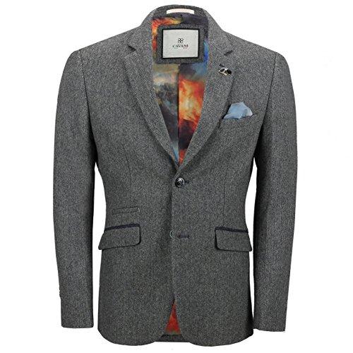 Cavani Mens Retro Grey Herringbone Tweed Jacket Wool Blend Smart Formal Tailored Fit Vintage Blazer[Erik,Grey,Chest UK/US 50, EU 60]