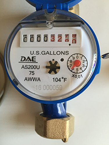 """DAE AS200U-75P 3/4"""" Potable Water Meter with Pulse Output, Measuring in Gallon + Couplings from DAE"""