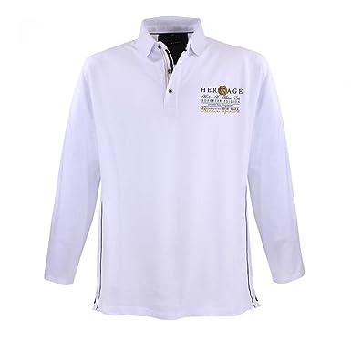 Lavecchia Piqué Polo Shirt - pour homme - manches longues - grande taille - blanc: 3XL kTg22