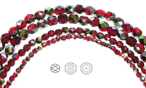 4mm (102) Light Siam Vitrail coated, Czech Fire Polished Round Faceted Glass Beads, 16 inch strand
