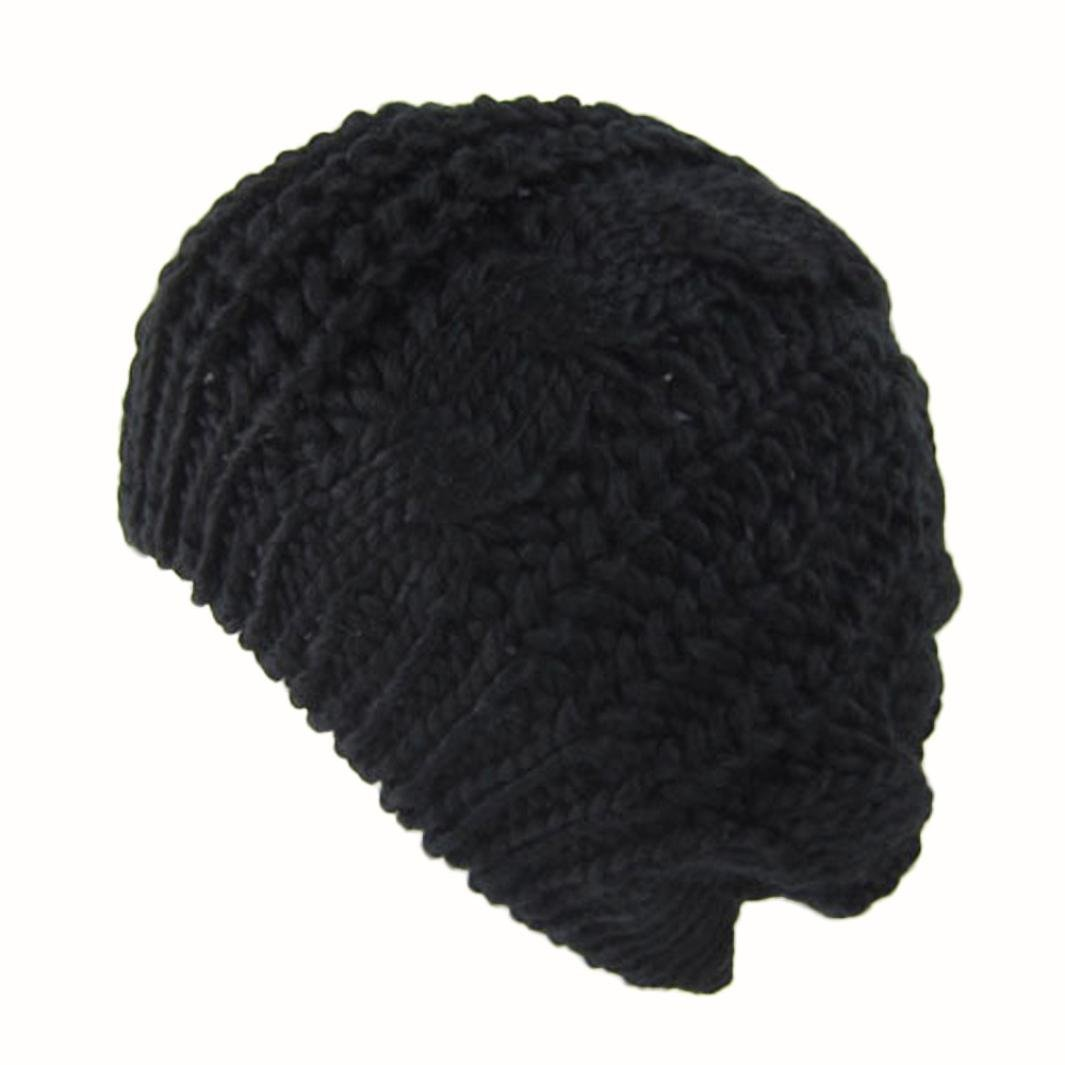 Gift for Friends, Egmy Women's Lady Beret Braided Baggy Beanie Crochet Warm Winter Hat Ski Cap Wool Knitted (Black)