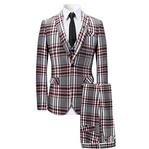 YFFUSHI Men's 3 Piece Plaid Suit Slim Fit Christmas Party Dress - Holiday Party Suits Dresses