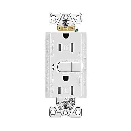 eaton 9566trsws tamper resistant duplex gfci receptacle, 125 v, 15 a, 2  pole, 3 wire, satin, white - - amazon com