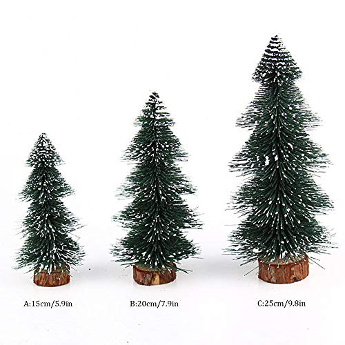 Highpot Mini Christmas Tree Green Sisal Snow Frost Trees Bottle Brush Trees Tabletop Christmas Trees for DIY Room Decor Table Top Decoration (7.9 inches) by Highpot (Image #1)