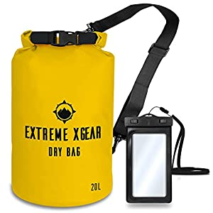 Professional Floating Waterproof Dry Bag – By Extreme XGear – Roll Top Compression Sack for Kayaking, Rafting, Boating, Hiking, Fishing, Camping, Outdoors – Waterproof Phone Case – 20L Yellow