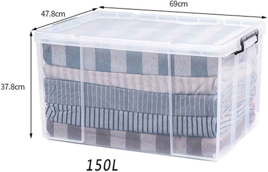 Caja De Almacenamiento Transparente Extra Grande Gruesa De 150 Litros - Caja De Almacenamiento De Juguetes De Ropa, Material PP, Gran Capacidad, Refuerzo De Ángulo Recto, Rodamiento Fuerte: Amazon.es: Hogar