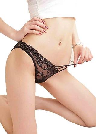 Bigood Lingerie Femme Dentelle Slip Sous-vêtement Transparent Culotte Noir e9358e8ac29