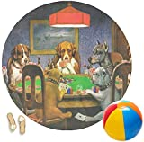 Dogs Playing Poker 1903 C.M.Coolidge Round Beach Towel