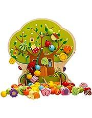 Amuzocity Houten rijgspel met fruithouten kralen om te rijgen, motoriekspeelgoed voor kinderen en baby's, leert logica en fijne motoriek