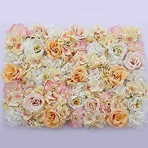 Flameer 40X60cm Artificial Silk Plastic Rose Flower Panel Wall Decoration Decorative Grass Turf Wedding Venue Backdrop Decor - Flower A, 40x60cm 4