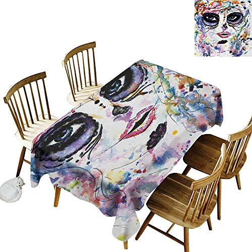 Rectangular Tablecloth W54 x L72 Sugar Skull Halloween Girl with Sugar Skull Makeup Watercolor Painting Style Creepy Look Multicolor Suitable for Traveling Outdoors Family Restaurant Coffee Shop Mor]()